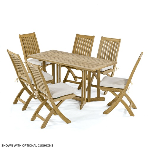 teak rectangular drop leaf dining set 7 pc]